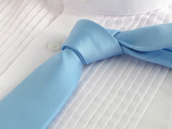powder blue tie with white tuxedo shirt