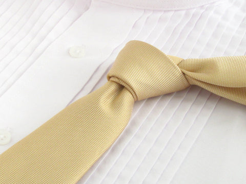 Rattan color tie with tuxedo shirt