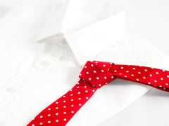 red and white polka dot necktie with white dress shirt