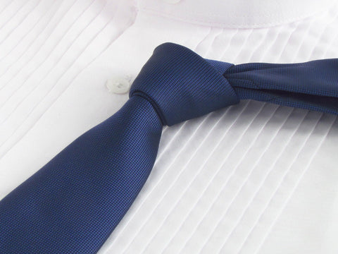 royal blue color tie with tuxedo shirt