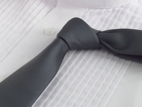 steet gray necktie with tuxedo shirt