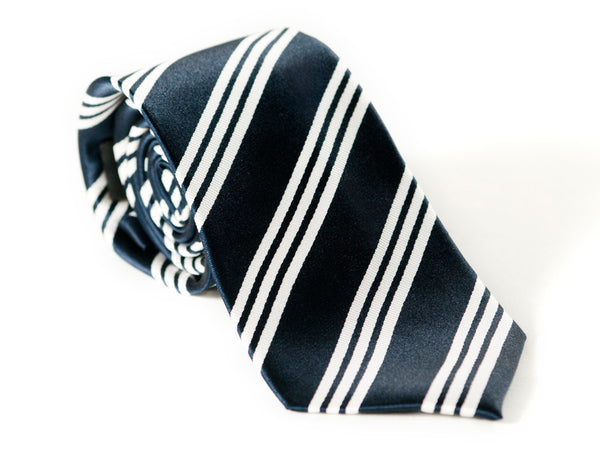 Navy Blue and white stripes necktie rolled up