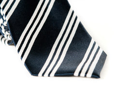 Striped Navy Blue and white necktie