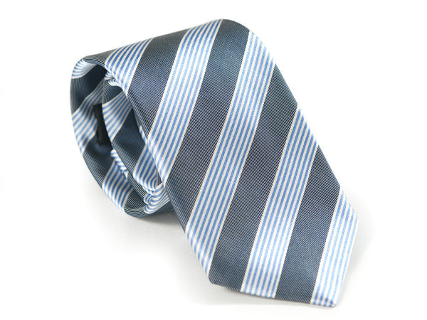 Air Force and baby blue striped necktie rolled up