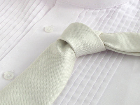 white color tie with tuxedo shirt