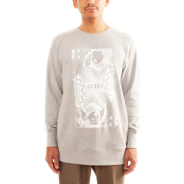 Clouds Hill - ECHO Grey Sweater (White Print)