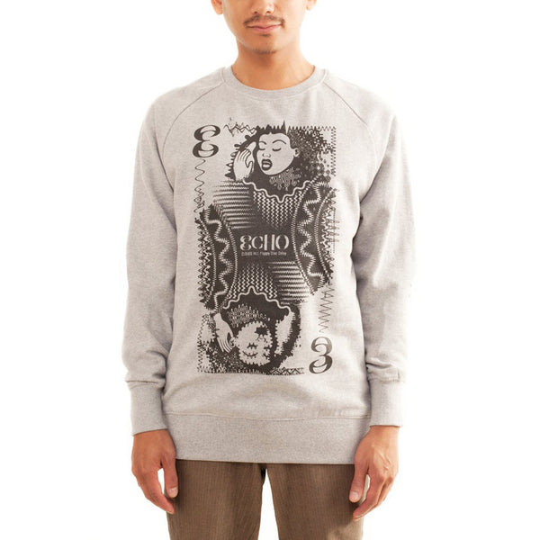 Clouds Hill - ECHO - Grey Sweater (Black Print)