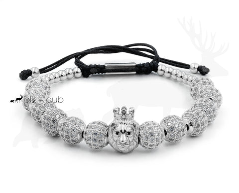 Stainless Steel Silver Crowned Lion Bracelet by Elk and Cub