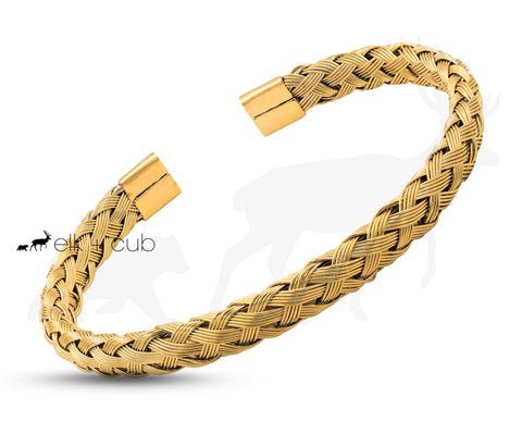 Gold Titanium Rope Bangle by Elk and Cub