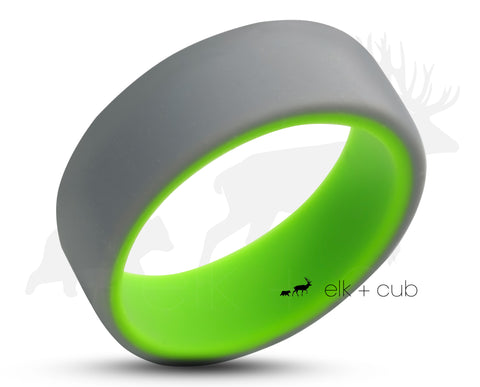 Two-Tone Silicone Ring With Rounded Edge - Grey And Green