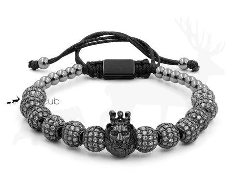 Stainless Steel Crowned Lion Bracelet by Elk and Cub