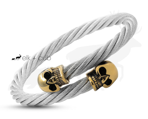 Silver Titanium Rope Bangle With Gold Skulls - Black Eyes
