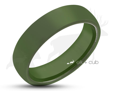 Green Ceramic Ring With Green Inlay - Rounded Edge With Satin Finish