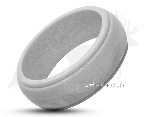 Silver Silicone Ring With Bevelled Edges - Matte Finish