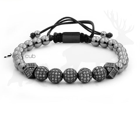 Stainless Steel Orb And Bead Bracelet - Black With Zircons