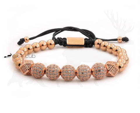 Stainless Steel Orb And Bead Bracelet - Rose Gold With Zircons