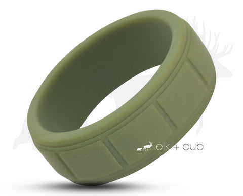 Green Silicone Ring With Square Pattern - Matte Finish