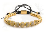 Stainless Steel Orb And Bead Bracelet - Gold With Zircons