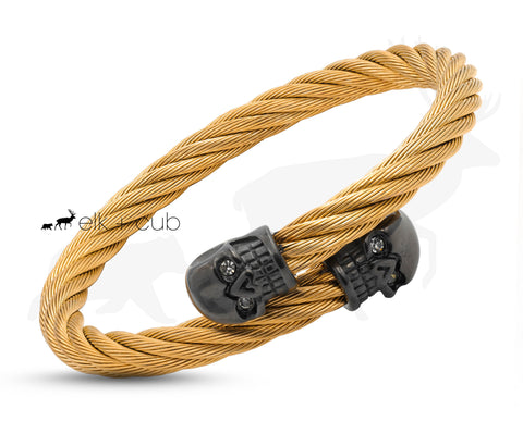 Gold Titanium Rope Bangle With Black Skulls by Elk and Cub