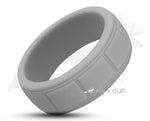 Light Grey Silicone Ring With Square Pattern - Matte Finish