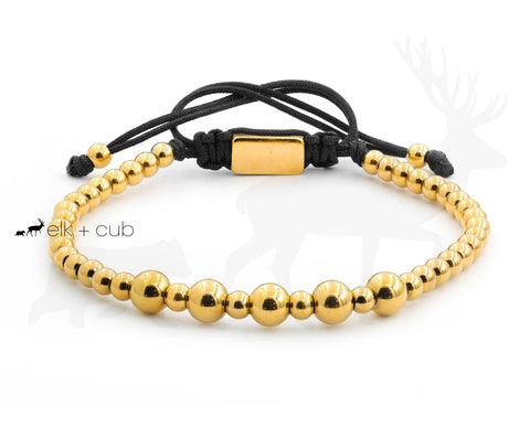 Stainless Steel Gold Beaded Bracelet With Macrame Cord by Elk and Cub