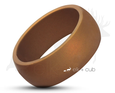 Brown Silicone Rounded Ring With Square Edge  - Matte Finish
