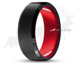 Black Tungsten Ring With Red Inlay by Elk and Cub