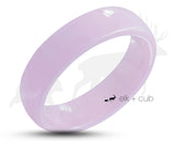 Purple Ceramic Ring With Purple Inlay - Rounded Edge With Satin Finish
