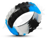 Track Silicone Ring With Rounded Edge - Blue And White