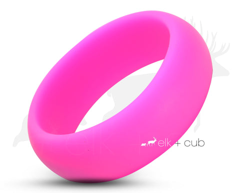Hot Pink Silicone Ring With Rounded Edge - Matte Finish