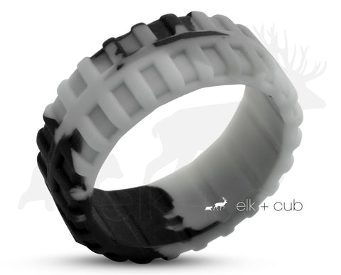 Track Silicone Ring With Rounded Edge - Black And Grey