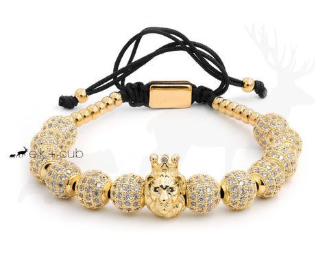 Stainless Steel Gold Crowned Lion Bracelet by Elk and Cub