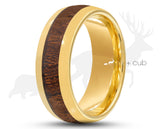 Gold Tungsten Ring With Koa Wood Stripe by Elk and Cub