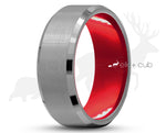 Silver Tungsten Ring With Red Inlay by Elk and Cub