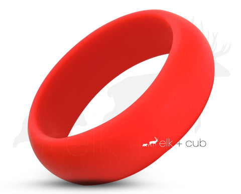 Red Silicone Ring With Rounded Edge - Matte Finish