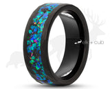 Black Tungsten Ring With Opal - Hammered And Brushed Finish