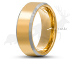 Gold Titanium Ring With Gold Inlay - Silver Bevelled Edges