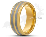 Gold Tungsten Ring With Gold Inlay - Dual Silver Brushed Stripes