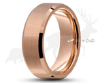 Rose Gold Titanium Ring With Rose Gold Inlay - Bevelled Edges