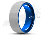 Silver Tungsten Ring With Blue Inlay - Curved Brushed Finish