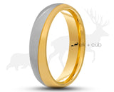 Silver And Gold Titanium Ring - Brushed And Gloss Finish