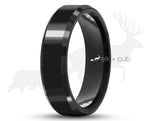 Black Ceramic Ring With Black Inlay By Elk and Cub