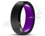 Black Tungsten Ring With Purple Inlay - Brushed With Bevelled Edges