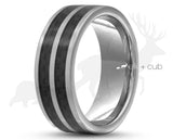 Silver Tungsten Ring With Carbon Fibre Stripes - Dual Band