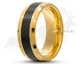 Gold Tungsten Ring With Carbon Fibre Stripe by Elk and Cub