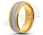 Gold Tungsten Ring With Meteorite Stripe - Curved With Gloss Finish