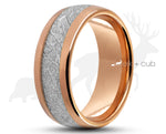 Rose Gold Tungsten Ring With Meteorite Stripe - Curved With Gloss Finish