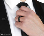 Man In Suit Wearing Tungsten Ring by Elk and Cub