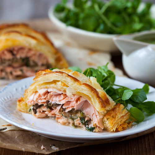 Wild Alaskan Salmon Wellington with organic basil pesto sauce