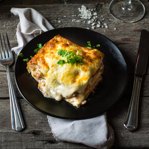 Classic Italian lasagna with New Zealand beef and organic veggies.